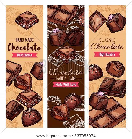 Chocolate Candies And Sweet Desserts, Candies With Praline, Nuts Or Cocoa And Cherry Topping, Dark B