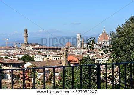 View Of Florence With The Palazzo Vecchio And The Cattedrale Di Santa Maria Del Fiore With The Campa