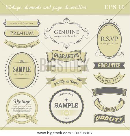 Vintage labels, elements and page decoration