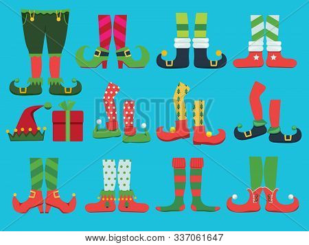 Xmas Shoes. Fairytale Elf Boots And Leggings Santa Boy Legs And Shoe Vector Christmas Collection. Il