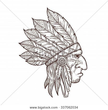 Indian Chief Head In Traditional Headdress Of Eagle Feathers, Sketch Tattoo Symbol. Vector Western A