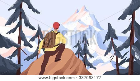 Mountain Hiking Flat Vector Illustration. Backpacker Exploring Wild Nature. New Horizons And Goals C