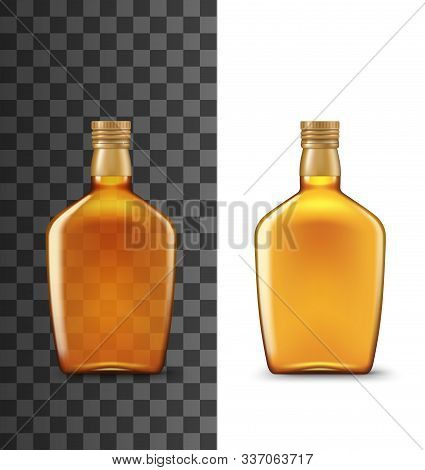 Whiskey Bottle Realistic 3d Mockup Template. Vector Isolated Blank Orange Bottle Of Drink Premium Al