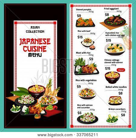 Japanese Cuisine Menu, Japan Restaurant Traditional Food Dishes. Vector Price Menu For Stewed Pumpki