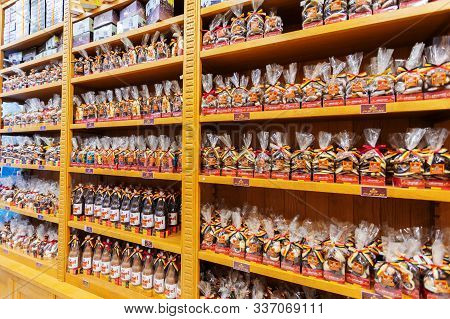 Brussels, Belgium - May 02, 2019: Chocolate Shop In Brussels With Many Varieties Of Chocolate Bars I