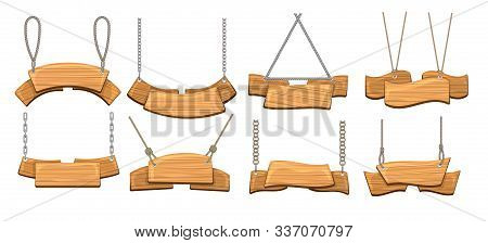 Signage With Ropes. Cartoon Antique Wood Signboards, Rustic Planking Directions Signs Vector Collect