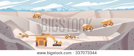 Quarry Landscape Flat Vector Illustration. Marble Mining Concept. Industrial Machinery And Transport