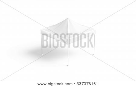 Blank White Pop Up Canopy Tent Mockup, Isolated, 3d Rendering. Empty Wedding Or Party Sunshade Roof
