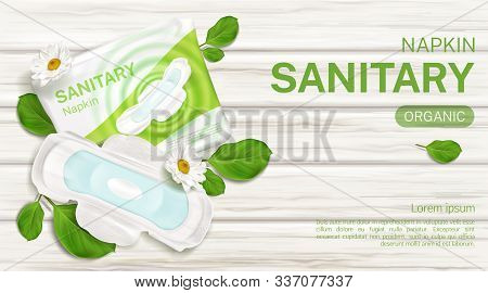 Organic Sanitary Napkins Package With Chamomile Flower Mock Up Banner. Feminine Day Time Hygienic Pa