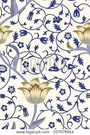 Vintage Floral Seamless Pattern On Light Background. Middle Ages Style. Vector Illustration.