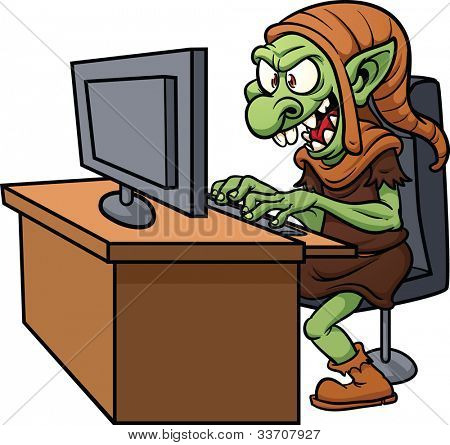 Internet troll using a computer. Vector illustration wit simple gradients. All in a single layer.