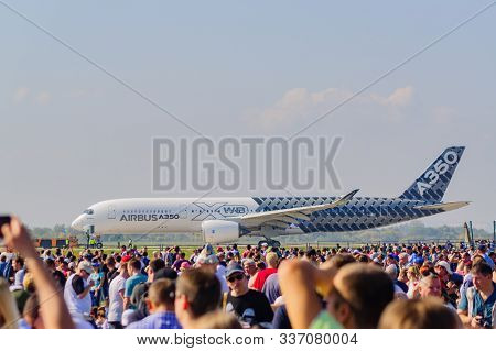Zhukovsky, Moscow Region, Russia - August 31, 2019: Airbus A350 Perfoming A Demonstration Flight  Du