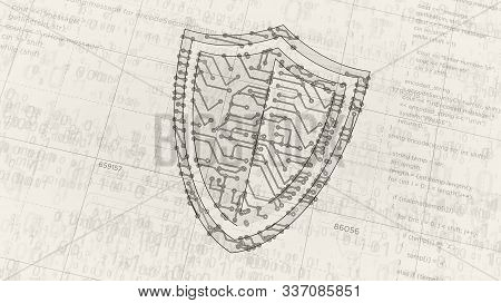 Cyber Security With Shield Symbol Project Creating. Abstract Concept Of Internet Safety, Firewall An