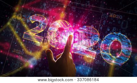 2020 Year Number Cyber Style Futuristic 3d Rendering Illustration. Abstract Digital Concept With Han