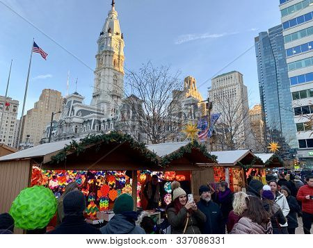 Philadelphia, Pennsylvania - November 29, 2019: Philadelphia Christmas Market. Holiday Shoppers Brow