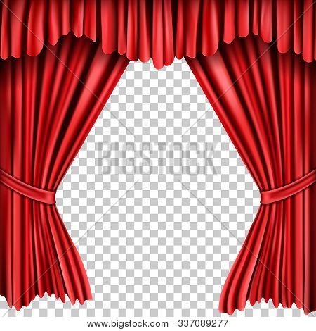 Open Red Silk Fabric Curtains, Realistic Vector Illustration. Velvet Drapery For Theatrical Stage, P