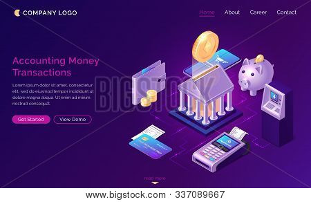 Accounting Money Transactions, Isometric Finance Concept Vector. Bank Building With Gold Coin, Piggy