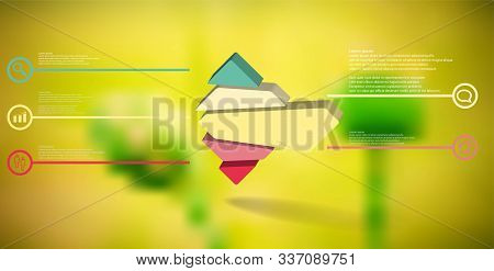 3d Illustration Infographic Template. The Embossed Rhomb Is Randomly Divided To Five Color Parts. Ob
