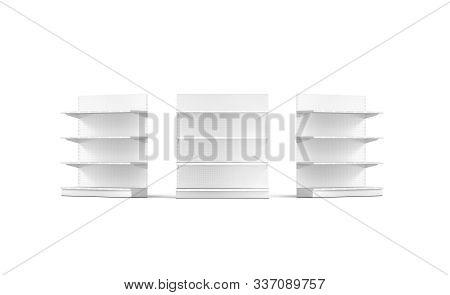 Blank White Showcase Shelves Mock Up, Isolated, 3d Rendering. Empty Furniture Stillage Mockup,front