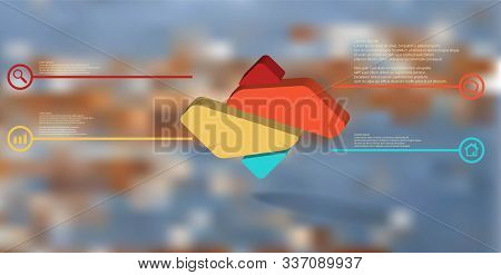 3d Illustration Infographic Template. The Embossed Rhomb Is Randomly Divided To Four Color Parts. Ob