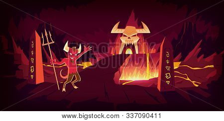 Hell Landscape, Cartoon Vector Illustration. Infernal Devil Stone Cave And Bridge, Road To Hell With