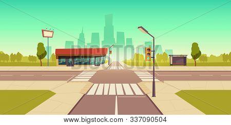 Urban Street Landscape With Public Transport Stop And Roadside Service Building, Cartoon Vector Back
