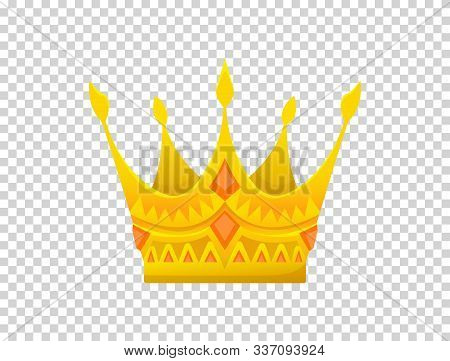Gold Crown Icon. Crown Awards For Winners, Champions, Leadership. Vector Isolated Element For Logo,