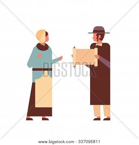 Jews Couple Reading Torah Jewish Man Woman In Traditional Clothes Standing Together Happy Hanukkah J
