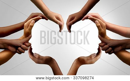 Diverse People Working Together And Group Unity Or Diversity Partnership As Teamwork Cooperation Or