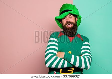 Christmas Elf. Elf Concept. Traditions Or Customs. Happy Celebration. Bearded Elf. Winter Carnival.
