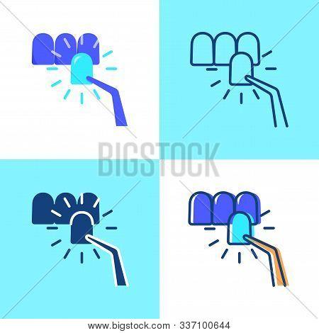 Dental Veneer Icon Set In Flat And Line Style