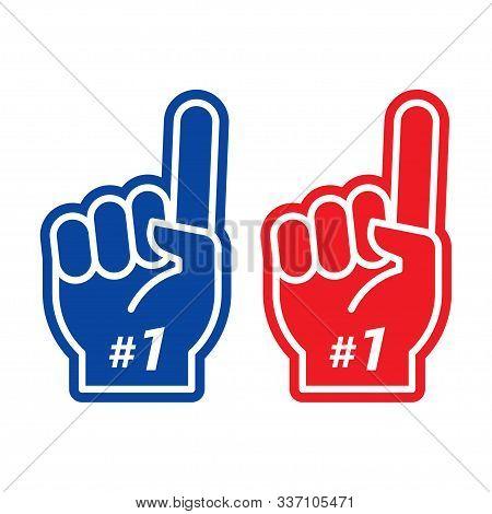 Foam Finger. Number One Fan Hand Glove With Finger Raised. Vector Illustration