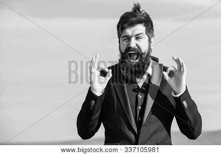 Hopeful And Confident About Future. Alright Gesturing. Man Bearded Optimistic Businessman Wear Forma