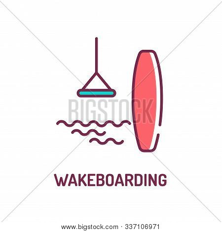 Wakeboarding Color Line Icon. Extreme Water Sport. The Rider, Standing On A Wakeboard, Is Towed Behi