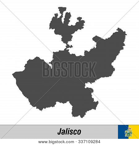 High Quality Map With Flag State Of Mexico - Jalisco