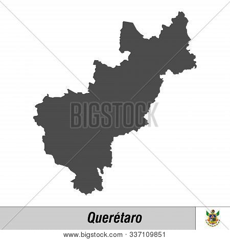 High Quality Map With Flag State Of Mexico - Queretaro