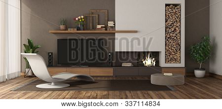 Modern Living Room With Fireplace ,chaise Lounge And Tv Set 3d Rendering