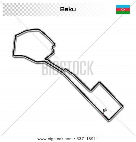 Baku Circuit For Motorsport And Autosport. Azerbaijan Grand Prix Race Track.