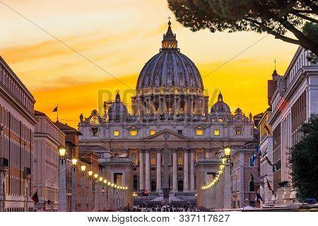 Orange Sunset Street Lights Saint Peter's Basilica Vatican Rome