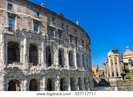 Ancient Theater Theatre of Marcellus Corinthian Columns Roman Forum Rome Italy Theater created by Augustus Caesar in First Century BC poster