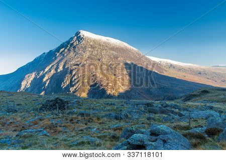 Early Morning Light And Shadow Over Mountains And Snow. Carnedd Llewelyn. Landscape
