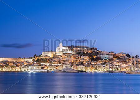 Cityscape Of Dalt Vila From Marina Ibiza, Ibiza, Spain