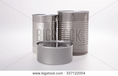 Aluminum Shiny Food Can Without Label Isolated On White