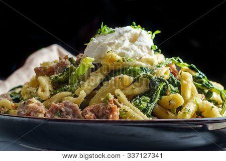 Italian Spicy Sausage Ricotta Cavatelli Pasta And Broccoli Rabe