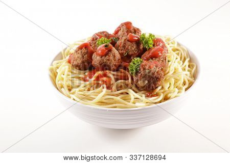 bowl of spaghetti with meatballs and tomato sauce isolated on white background