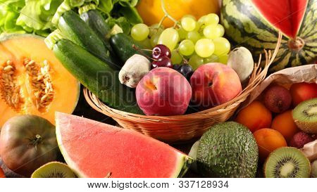 fruit and vegetable, grapes, peach-melon and avocado
