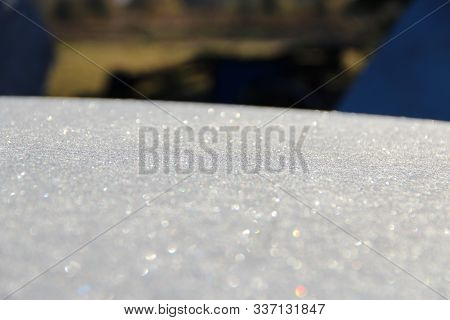 Texture Of Surface Covered With Hoar-frost In Winter. Background With Surface Covered By Hoar-frost.