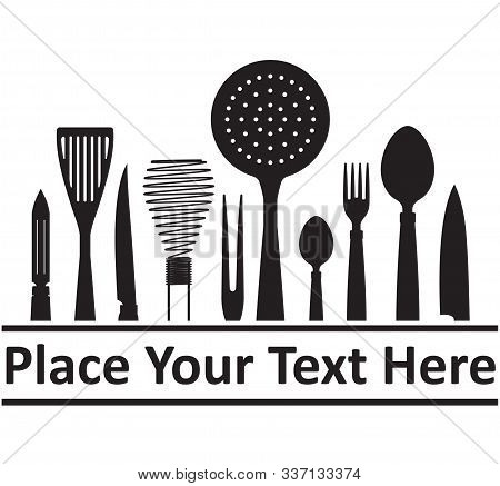 Abstract Cooking Design With Kitchenware For Your Logo Or Emblem And Place For Text