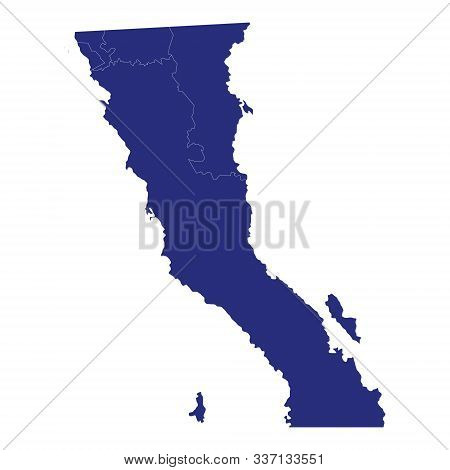 High Quality Map Of Baja California Norte Is A State Of Mexico, With Borders Of The Municipalities