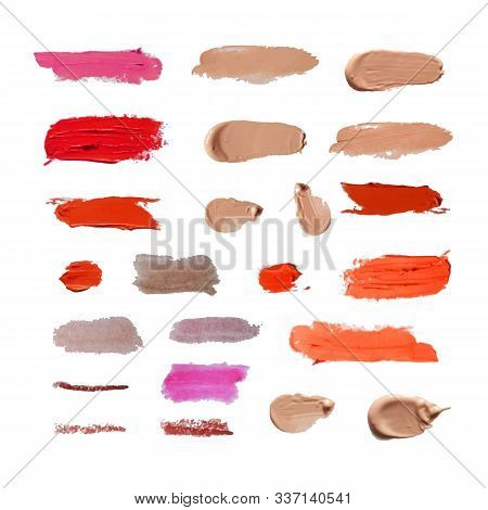 Vector Set Of Different Cosmetic Smears Isolated On White Background, Realistic Design Elements, Lip